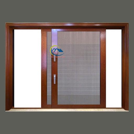 Mẫu cửa lưới lùa vân gỗ cho cửa sổ